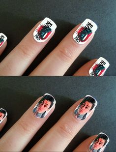 Rock inspired Nail Art. Get Falling In Reverse's Ronnie Radke on your fingertips.
