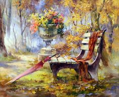 Hot Price Frameless Autumn Gardan Landscape DIY Digital Painting By Numbers Kits Hand Painted Modern Wall Art Canvas Painting For Artwork .more information please click the link Simple Oil Painting, Garden Painting, Diy Painting, Autumn Painting, China Painting, Painting Flowers, Images D'art, Cross Paintings, Wall Art Pictures