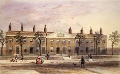 Clothworkers Almhouses in Frog Lane (w/c on paper) Wall Art & Canvas Prints by Thomas Hosmer Shepherd