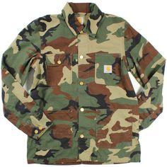 Carhartt Green Camo Digger Coat ($91) ❤ liked on Polyvore featuring men's fashion, men's clothing, men's outerwear, men's coats, jackets, mens camo coat, mens green sport coat and carhartt mens coats