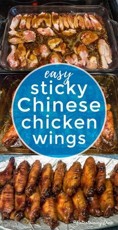 This baked sticky Chinese chicken wings recipe made with brown sugar and soy sauce tastes great and is the easiest wing recipe you can find!