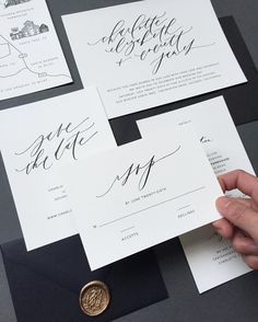 minimalist #semicustom suite! I love this calligraphy + text combo, in elegant black and white, and calligraphy wax seals in gold by Written Word Calligraphy, IG @writtenwordcalligraphy