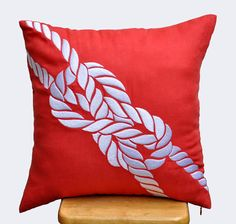 Rope Pillow Cover Sailing Decor Red Orange Linen White by KainKain