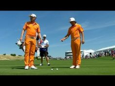 Wearing matching outfits, Blixt and Fowler's tee shots hit each other