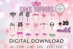 Laser Cut Love Cake TOPPERS for Laser Cut or Cnc Router CAKE   Etsy Bar Mitzvah, Cnc Router Plans, Plasma Cnc, Love Cake Topper, Quinceanera Cakes, Sweet 16 Cakes, Laser Cut Files, Dream Cake, Design Bundles