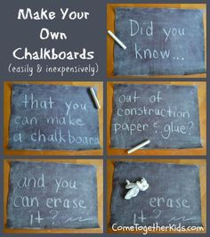 Make Your Own Chalkboard with construction paper and glue.  Brilliant, versatile, and perhaps healthier?  Could be used for reusable character signs for Readers Theater if you want to identify characters.