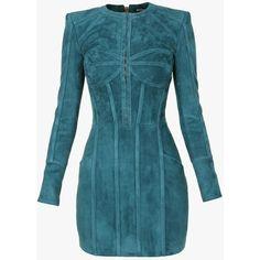 Mini-robe en agneau velours à armatures | Robes en cuir Femme |... (£645) ❤ liked on Polyvore featuring intimates, robes, balmain, dressing gown, velour bathrobe, mini robe and bath robes