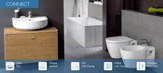 Ideal-Standard Connect ist das Konzept, das hochwertiges Design mit praktischen Lösungen verbindet. Wählen Sie aus drei unverwechselbaren Waschtischformen den Stil aus, der Ihnen am besten gefällt, und kreieren Sie daraus einfach das Bad Ihrer Träume. Wählen Sie zwischen unterschiedlichen WC-Kombinationen, innovativen Stau- und Ablagesystemen und noch so manchen anderen cleveren Ideen. Ganz gleich, ob Sie ein funktionales Familienbad, ein elegantes Duschbad oder ein kompaktes Gästebad… Ideal Standard, Minimalism, Toilet, Vanity, Contemporary, Bathroom, Design, Books, Houses