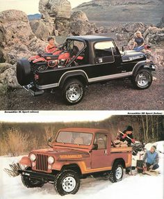 1982 Jeep Scrambler Brochure  Love the hair on the guy strapping down the dirt bikes.