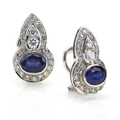 Sapphire and Diamond Drop Earrings, in 14kt White Gold