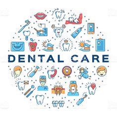 Colorful dentistry thin line art icons royalty-free stock vector art Dull Dental Implants Bridges