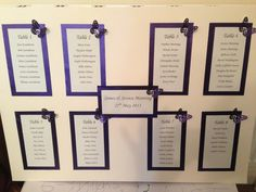 Ivory and purple A2 table plan with butterfly detail.