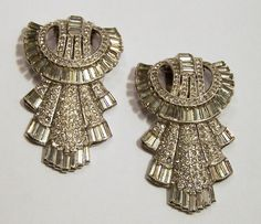 Art Deco Crystal Rhinestone Dress Clip Pair by GretelsTreasures