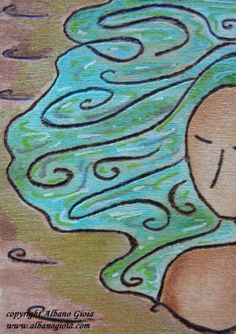 """""""The lady of the river"""" - 06/2014 Pyrography womanhood miniature art ACEO Mixed media Original artwork by Gioia Albano"""