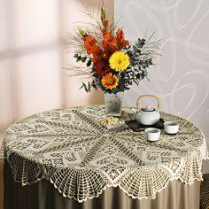 Toalha de mesa redonda Camila #receita #diagrama #CoatsCorrente