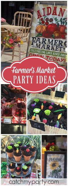 You have to see this amazing farmer's market birthday party! See more party ideas at Catchmyparty.com!