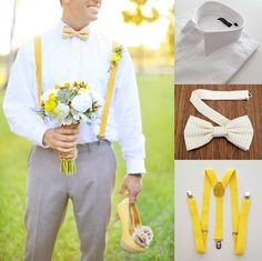 grooms with suspender and yellow bow tie   ... yellow striped bow tie, and yellow suspenders. (groom's photo by wings