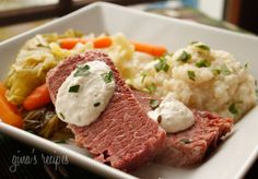 Corned Beef and Cabbage  Gina's Weight Watcher Recipes Servings: 4 • Serving Size: 1/4 of meat and veggies • Old Points: 6 pts • Points+: 7 pts Calories: 292.5 • Fat: 16.1 g • Protein: 19.3 g • Carb: 20.5 g • Fiber: 8.3 g