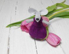 Felt miniature mouse purple violet in matchbox by atelierpompadour