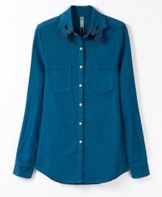 Hands Pattern Lapel Collar Denim Blouse With Long Sleeves