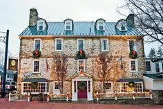 """Christmas in Middleburg noted as a """"Virginia's Holiday Finest"""" This is the """"Red Fox Inn and Tavern"""" in Middleburg. Established in this is the original structure and it is wonderful to visit and have a nice dinner or stay the weekend. English Christmas, Southern Christmas, White Christmas, Merry Christmas, Xmas, Beautiful Homes, Beautiful Places, Southern Living Magazine, Virginia Is For Lovers"""