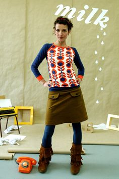 "Longsleeves - SPORTY LANGARM ""MARIKKA""IN ORANGE-BLAU - ein Designerstück von Bonnie-and-Buttermilk bei DaWanda"