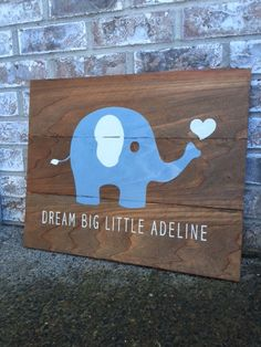 Custom Baby Blue Elephant Sign  Baby Gifts  Baby by RedRoanSigns
