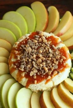 Apple Caramel Dip 1 pkg (8oz) cream cheese 3/4 cup brown sugar 1 container caramel (usually found in the produce section) 1 pkg skor bits ...