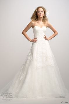 watters fall 2012 strapless a line wedding dress. with a embroidered sash.. so pretty!