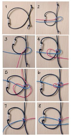 Tying a sliding knot is a little tricky, but it's a great technique to add to your bag of tricks! – how to tie a sliding knot – jewelry making – DIY jewelry Jewelry Knots, Bracelet Knots, Bracelet Crafts, Wire Jewelry, Jewelry Crafts, Handmade Jewelry, Slide Knot Bracelet, Knots For Bracelets, Crochet Bracelet