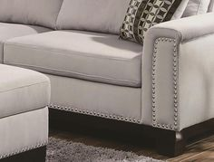 Grey Sofa With Nailheads | We Are Online Only Furniture Store