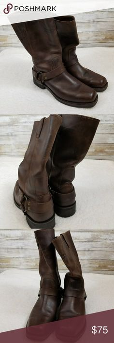 Harley Davidson riding boots Brown 100% leather riding boots Good condition  Measurements: heel to tip 12, width 4, heel 1 1/2 inch Harley-Davidson Shoes Combat & Moto Boots