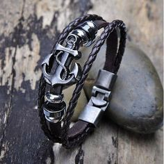 cool Vintage Men's Metal Anchor Steel Studded Surfer Leather Bangle Cuff Bracelet - For Sale