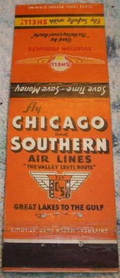 Chicago and Southern 1940's #matchbook To design & order your business' own advertising #matches GoTo GetMatches.com