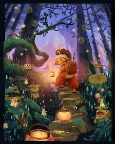 Little trail in the forest 🌳 you might be able to find some hidden forest spirits in the middle of the walk! Children's Book Illustration, Character Illustration, Forest Drawing, Magical Creatures, Storyboard, Cute Art, Creative Art, Illustrators, Fantasy Art