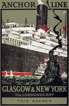 glasgow vintage travel   TX196 Vintage Anchor Line Glasgow New York Shipping Travel Poster ...