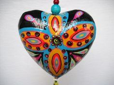 Boho Handpainted paper mache heart by BoHoExpressions on Etsy