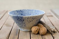 Ceramic bowl, Japanese pottery, handmade pottery, blue bowl, cereal bowl, soup bowl, white and blue pottery, modern pottery. ***Made for order*** This ceramic bowl will be wonderful for small salad, hot dish or cold dish. The bowl is made of white stoneware clay and glazed with silky white glaze. On the top I sprinkled natural pigment called cobalt . Every bowl is different and there is no two exactly the same due to the sprinkling. Its a unique peace and you can use it for everyday use o...