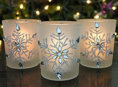 Snowflake Votive Candleholders with Flameless Flickering LED Candles Set of 3 Frosted Glass Glittery Snowflakes with Jewels - Glass Tealight Candle Holders, Christmas Candle Holders, Diy Candle Holders, Christmas Candles, Candle Set, Christmas Decorations, Christmas Gifts, Christmas Door, Glass Candle