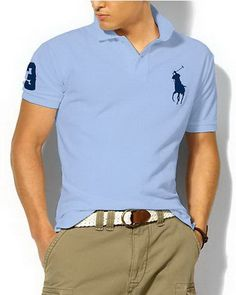 Ralph Lauren Custom Fit Big Pony Polo Shirt Sky Blue [Shop 2137] - $37.66