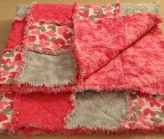 Gray and Pink Heart Baby Rag Quilt 35 by 35 inches.. $35.00, via Etsy.