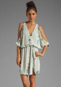 GYPSY 05 Nahil Cold Shoulder V-Neck Mini Dress in Slate at Revolve Clothing - Free Shipping!