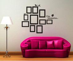 Free Shipping:Promotion!! 10 PCs DIY Photo Frame Kids Wall Black Sticker Vinyl Decal Decor Home Art (80 x 60 cm/piece)(China (Mainland))