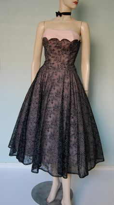 Vintage 50's printed & flocked eyelet lace organdy dress w/pleated tulle