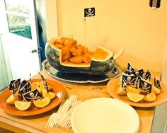 Pirate party food-like the orange slices!