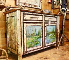 Porter 4u0027 Sideboard With Original Adirondack Paintings On Birch | Dartbrook  Rustic Goods
