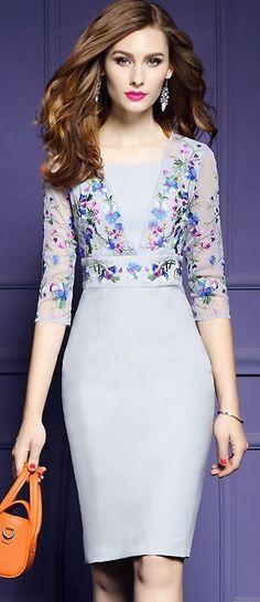 Cute O-Neck Mesh Embroidery Bodycon Dress