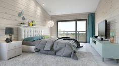 Уютный минимализм в доме из бруса. Спальня