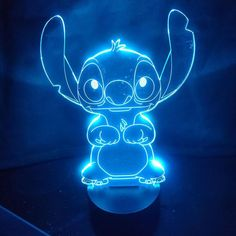 Stitch Cartoon Table Lamp Acrylic Panel USB Cable 7 Colors Change Touch Night Light Bedroom Home Decor Kids Christmas Gift. Cartoon Wallpaper Iphone, Neon Wallpaper, Cute Disney Wallpaper, Blue Wallpapers, Animes Wallpapers, Blue Aesthetic Dark, Neon Aesthetic, Lelo And Stitch, Disney Stich