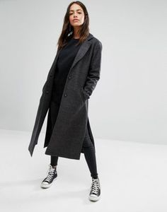 New Look - Manteau long fendu sur le côté
